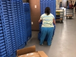 Moving and Stacking Blue Bins